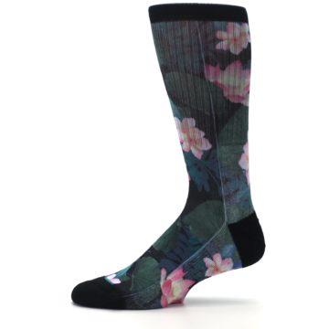 Image of Black Pink Blue Floral Men's Casual Socks (side-2-11)