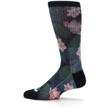 Image of Black Pink Blue Floral Men's Casual Socks (side-2-12)