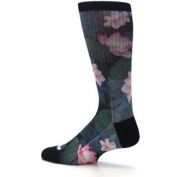 Image of Black Pink Blue Floral Men's Casual Socks (side-2-13)