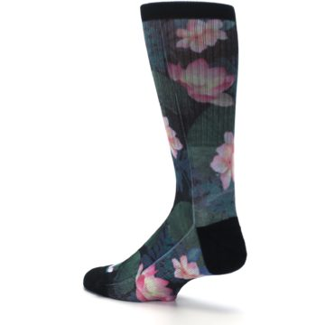 Image of Black Pink Blue Floral Men's Casual Socks (side-2-back-14)