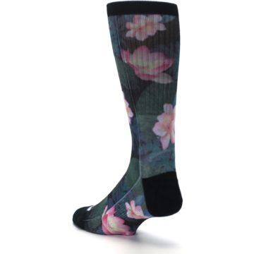 Image of Black Pink Blue Floral Men's Casual Socks (side-2-back-15)