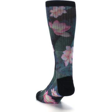 Image of Black Pink Blue Floral Men's Casual Socks (side-2-back-16)