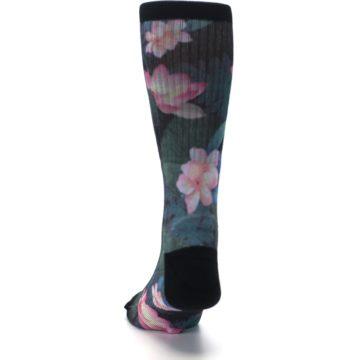 Image of Black Pink Blue Floral Men's Casual Socks (back-17)