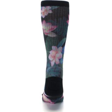 Image of Black Pink Blue Floral Men's Casual Socks (back-18)