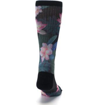 Image of Black Pink Blue Floral Men's Casual Socks (back-19)