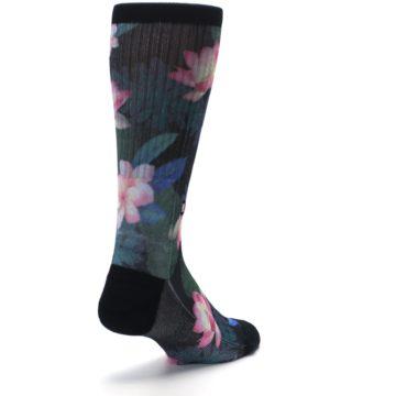 Image of Black Pink Blue Floral Men's Casual Socks (side-1-back-21)