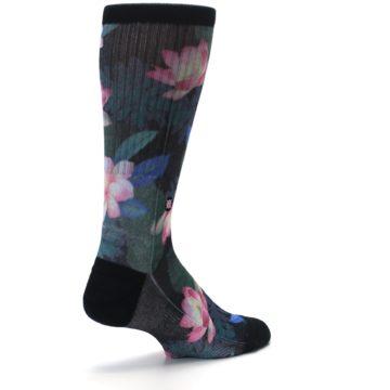 Image of Black Pink Blue Floral Men's Casual Socks (side-1-back-22)