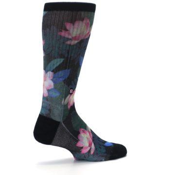 Image of Black Pink Blue Floral Men's Casual Socks (side-1-23)