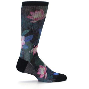 Image of Black Pink Blue Floral Men's Casual Socks (side-1-24)