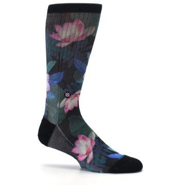 Image of Black Pink Blue Floral Men's Casual Socks (side-1-25)