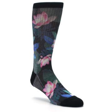 Image of Black Pink Blue Floral Men's Casual Socks (side-1-27)