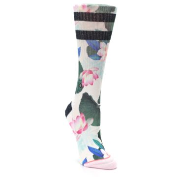 Image of Pink Green Jaclyn Floral Women's Casual Sock (side-1-front-02)