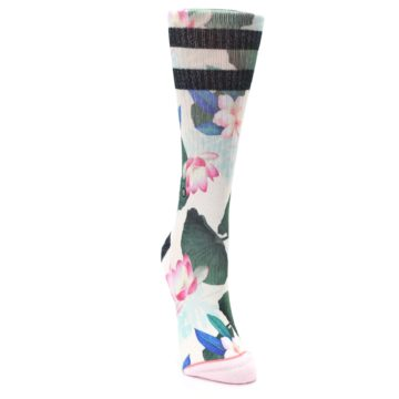 Image of Pink Green Jaclyn Floral Women's Casual Sock (side-1-front-03)