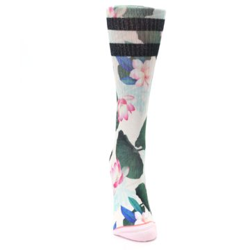 Image of Pink Green Jaclyn Floral Women's Casual Sock (front-04)