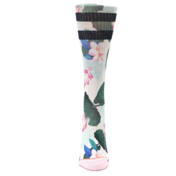 Image of Pink Green Jaclyn Floral Women's Casual Sock (front-05)