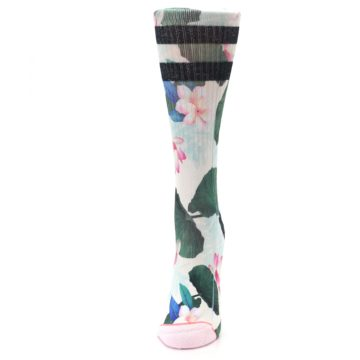 Image of Pink Green Jaclyn Floral Women's Casual Sock (side-2-front-06)