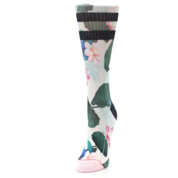 Image of Pink Green Jaclyn Floral Women's Casual Sock (side-2-front-07)