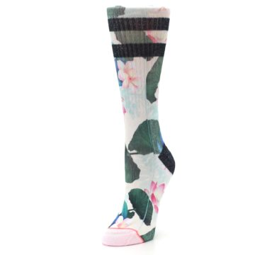 Image of Pink Green Jaclyn Floral Women's Casual Sock (side-2-front-08)