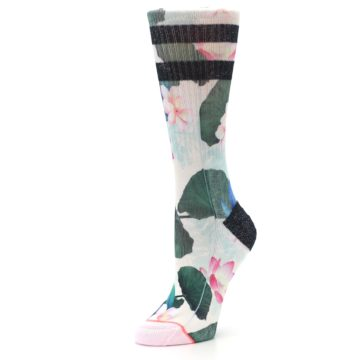 Image of Pink Green Jaclyn Floral Women's Casual Sock (side-2-09)