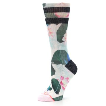 Image of Pink Green Jaclyn Floral Women's Casual Sock (side-2-10)