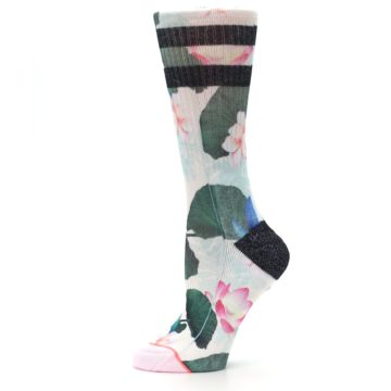 Image of Pink Green Jaclyn Floral Women's Casual Sock (side-2-11)