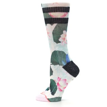 Image of Pink Green Jaclyn Floral Women's Casual Sock (side-2-12)