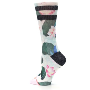 Image of Pink Green Jaclyn Floral Women's Casual Sock (side-2-13)