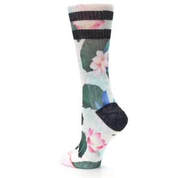 Image of Pink Green Jaclyn Floral Women's Casual Sock (side-2-back-14)