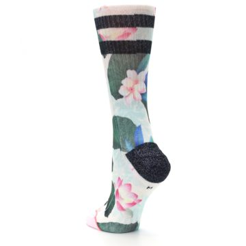 Image of Pink Green Jaclyn Floral Women's Casual Sock (side-2-back-15)