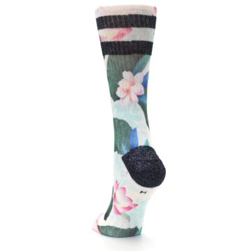 Image of Pink Green Jaclyn Floral Women's Casual Sock (side-2-back-16)