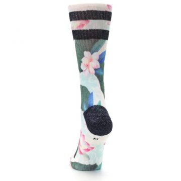 Image of Pink Green Jaclyn Floral Women's Casual Sock (back-17)