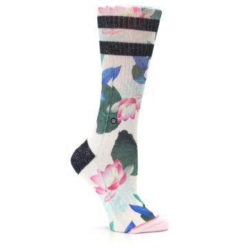 Image of Pink Green Jaclyn Floral Women's Casual Sock (side-1-25)