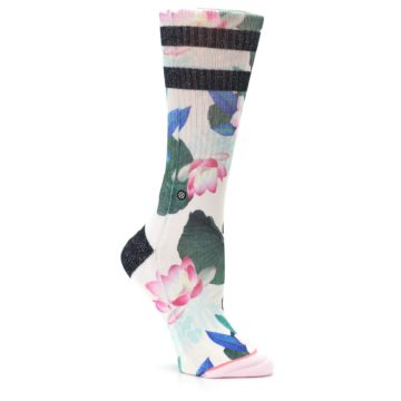 Image of Pink Green Jaclyn Floral Women's Casual Sock (side-1-26)