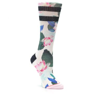 Image of Pink Green Jaclyn Floral Women's Casual Sock (side-1-27)