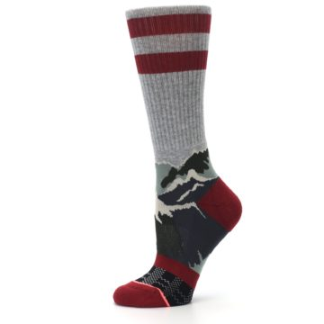 Image of Gray Red Happy Camper Mountain Women's Casual Sock (side-2-11)
