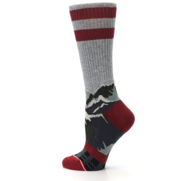 Image of Gray Red Happy Camper Mountain Women's Casual Sock (side-2-13)
