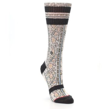 Image of Pink Cream Patterned Women's Casual Sock (side-1-front-02)