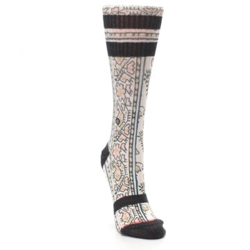 Image of Pink Cream Patterned Women's Casual Sock (side-1-front-03)