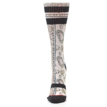Image of Pink Cream Patterned Women's Casual Sock (side-2-front-06)