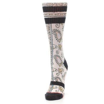 Image of Pink Cream Patterned Women's Casual Sock (side-2-front-07)