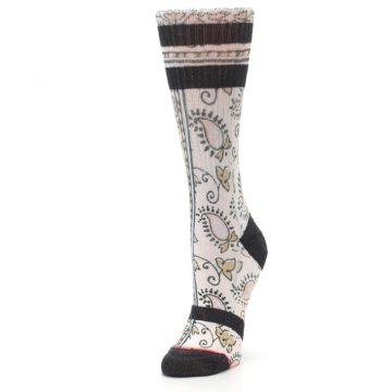 Image of Pink Cream Patterned Women's Casual Sock (side-2-front-08)