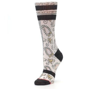 Image of Pink Cream Patterned Women's Casual Sock (side-2-09)