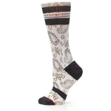 Image of Pink Cream Patterned Women's Casual Sock (side-2-12)
