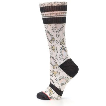 Image of Pink Cream Patterned Women's Casual Sock (side-2-13)