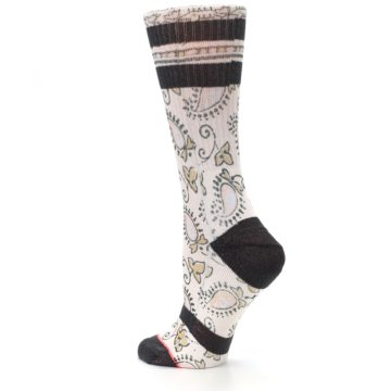 Image of Pink Cream Patterned Women's Casual Sock (side-2-back-14)