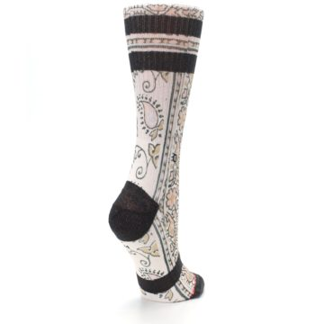 Image of Pink Cream Patterned Women's Casual Sock (side-1-back-22)