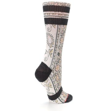 Image of Pink Cream Patterned Women's Casual Sock (side-1-23)