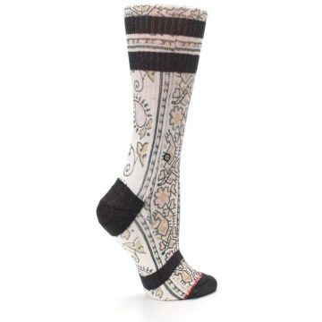 Image of Pink Cream Patterned Women's Casual Sock (side-1-24)