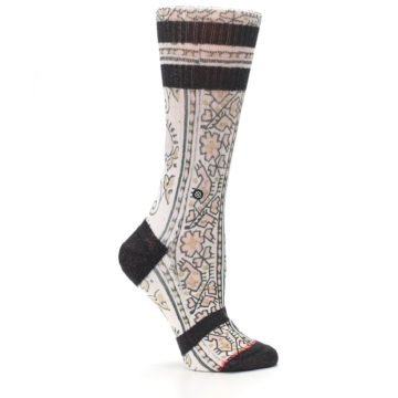 Image of Pink Cream Patterned Women's Casual Sock (side-1-25)