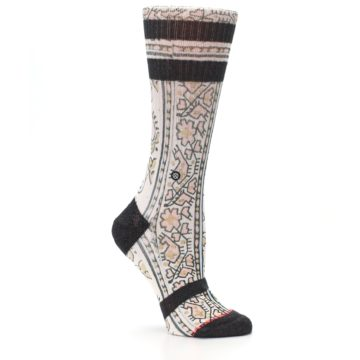 Image of Pink Cream Patterned Women's Casual Sock (side-1-26)